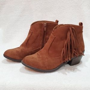 Suede Fringe Ankle Boots by Faded Glory